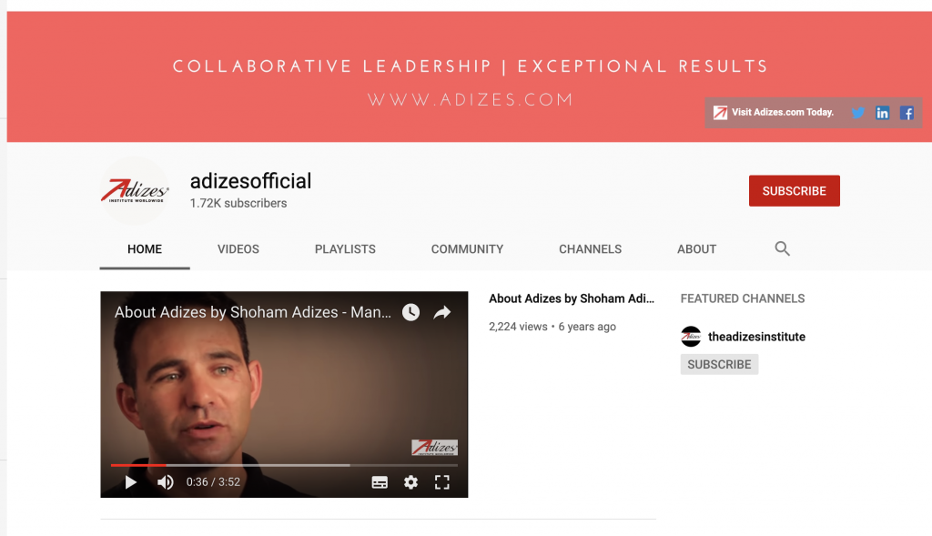 Adizes YouTube Channel hosts new series of videos with Dr. Adizes
